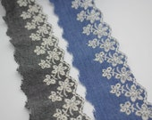 Chambray Broderie Anglaise Embroidered Eyelet Lace in Grey and Denim 55mm Wide