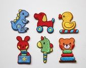 Children's Playroom Cute Patches - Embroidered Motif/Badges in 6 Kids Toy Designs - Bright Colourful