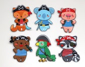 Pirate Animal Patches - Cute Kids Iron on Motifs -  Racoon, Fox, Bear, Parrot, Pig, Elephant - Colourful Embroidered Appliqué