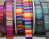 Strap - Bright Woven Cotton Backed Onto Supple Black Faux Leather Strap - Bags, Handles, Straps, Strapping, Belts - Rainbow, Stripe