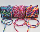 Fabric Encased Cord in Rainbow Stripe, Blue Mix or Pink Mix in Fun Textile Designs