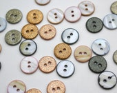 Glitz Buttons - Mother of Pearl Micro-Glitter Shell Buttons 12mm - Atelier Brunette - Sage Green, Cedar, Powder Pink, Copper, Ochre.