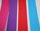100% Cotton Webbing 38mm Wide/3.8cm Wide Bag Strap Belt Strap - Purple, Pink, Red, Turquoise, Lime Green