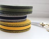 Striped Bag Strap Webbing - Khaki/Black, Gold/Black, Navy/Ecru - 40mm wide - 100% Polyester - Perfect for Man Bags!