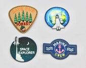 Space Explorer, Save our Forest, Space Dream and Marine Crew Patches Beautiful Quality Embroidered Iron on Motifs/Patches Appliqué Patch