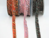 Very Fine Looped Fringe Trim in Pink, Burnt Orange and Fir Green -- 15mm Wide