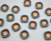 Square - Round Rainbow Buttons - Plastic Rainbow Buttons 1cm Button Two Hole Buttons