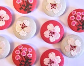 Large Embroidered Fabric Covered Buttons - Pink and Linen Floral Buttons - Approx 38mm Diameter