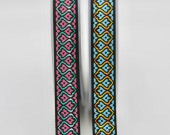 "Beige Pin Flowers Jacquard x 1yard various colourways 1/"" 25mm"
