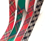 Tartan Bias Binding in Black, Green or Red - 20mm Wide - 100% Cotton - Sold By The Metre