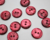 Delicate Lightweight Plastic Faux Shell Iridescent Textured Buttons in Raspberry Jam Pink 15mm