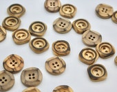 Carved Wooden Buttons with Burnished Finish in Square or Round - Two Hole Buttons 15mm/16mm