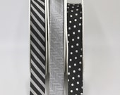 Exquisite Quality Woven Jacquard Bias Binding Trim 20mm Wide Sold by the Metre in Silver Herringbone or Black with White Dots