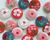 Statement Embroidered Fabric Covered Buttons - Pink, Linen & Denim With Floral Embroidery - 38mm