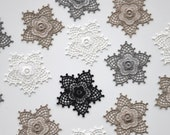 Lace Flower Patch in Black or Ivory -- Delicate Iron on Lace flower motifs --  4.5x4.5 cm