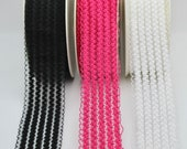 Pretty Elasticated Trim with Lacey Quality in Hot Pink, Black, White 5cm Wide