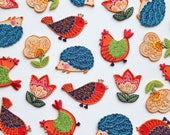 Naïve Folk Art Iron on Patches - Hedgehog, Tulip, Flower, Butterfly, Chicken, Bird - Embroidered Motifs for Kids and Crafts