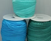 Elastic - Fold Over Elastic - Satin Face Foldable Elastic - Turquoise, Aqua, and Jade Green - High Quality - 16mm/1.6cm Wide