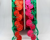 Red and Pink Vibrant Cherry or Apple Trim - Fun Trim to Decorate Your Clothes, Hats and Bags - Approx 4cm Wide