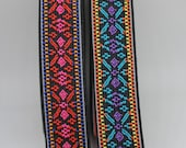 Elastic - Great Quality Woven Aztec/Navajo/Tribal Elastic in Two Bright Colour Ways - 25mm/2.5cm Wide Pink, Red, Black/Purple, Turquoise