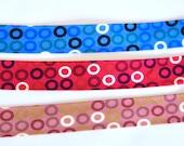 Bias Binding - 2cm/20mm Wide - Cerise Red/ Blue/ Dusky Rose