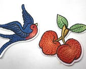 Iron on Cherry or Bird Motifs/Patches Appliqué Embroidered Patch/Embellishments Superb Quality Tattoo Style