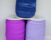 Elastic - Fold Over - Shiny Fold Over Elastic in Light Navy Blue, Lilac, and Orchid Purple - High Quality - 16mm/1.6cm Wide
