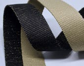 Metallic Webbing Bag Strap - Great quality - 30mm wide - in Light Khaki/gold, Black/gold, grey/silver, black/silver