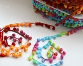 Multicolour Pom Pom Trim with Woven tape with Tie Dyed Effect Pom Poms in Pink/Yellow/Aqua Blue & Red/Yellow/Plum