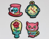 Alice in Wonderland Patches / Beauty and the Beast Patch - Mad Hatter, Rose, Watch, Cheshire Cat - Embroidered Iron On Badge/Motif