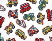 Transport Motifs - Red/Green Tractor, London Bus, School Bus, Fire Engine, Dumper Truck and Police Car - Iron On Embroidered Patches
