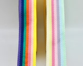 Multicoloured Striped Bag Strap Webbing in Two Rainbow Colourways - Sold by the Metre - 40mm Wide