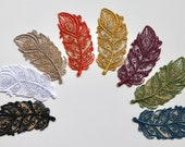 Delicate Lace Feather Iron on Patch Motif in various colours with Metallic Detail