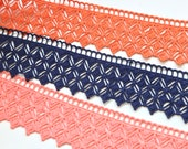Guipure Lace with Stacked Diamond Lattice Design 45mm Wide - Terracotta Orange, Navy, Peach