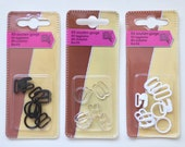 Rings, Sliders and Clips for Lingerie, Bra and Bikini Straps - 10mm - Black, White, Clear