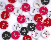 Polkadot Buttons - Fabric Covered Buttons with Tiny Silver Eyelet Detail - 15mm Diameter - Bright pink/Red/Black/White