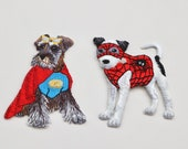 Superhero Dog Iron-on Patch - 5cm x 6.5cm - Schnauzer, Spiderman, Disguised Dogs