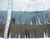 Textile Metallic Fringe in Gold/Black, Silver/Black, Pearl/Natural - Sold by the Metre - 5cm Wide