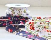 Watercolour Floral Bias Binding - Navy, White Freesia print - Peach Skin Super Soft - 25mm wide