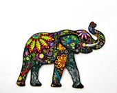 Psychedelic Elephant -  Iron on Motif Embroidered Applique Patch - Measures Approx 8.5cm Wide x 6cm High