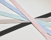 Organic 100% Cotton Jersey Bias Binding Baby Blue and Pale Dusky Pink Black Fawn 20mm Wide