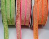 Metallic Lurex Elastic Neon Green/Gold, Neon Pink/Gold, Neon Orange/Silver 12mm/1.2cm Wide - Bra Strap, Waistband Elastic