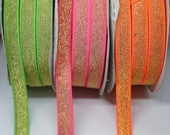 Elastic - Metallic Lurex Elastic Neon Green/Gold, Neon Pink/Gold, Neon Orange/Silver 20mm/2cm Wide - Bra Strap, Waistband Elastic