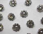 Crystal or Pearl Buttons - Diamanté Rhinestone Crystal Pearl Multi Gem Buttons - 11mm
