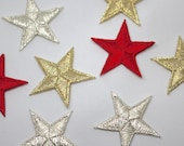Embroidered Red and Metallic Star Motifs - 3x3cm Star Applique Patch - Christmas Motif, Celestial, Superb Quality