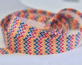 Chevron Bias Binding 20mm Wide with Red, Teal, Yellow and White 2cm