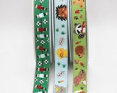 Ribbon - Table Football and Cute Animal Character Ribbon - Quality Children's Ribbon with Jacquard Weave green and duck egg blue  16mm wide