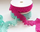 Guipure Lace Trim - Scalloped edge, Flowers, Fans - Hot Pink , Mint Green, Black - 37mm wide