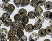 Skull Buttons - Solid Metal - Antique Silver or Brass - Pirate Skull and Crossbone, Rockabilly, Goth, Sugar Skull, Halloween - 15mm and 20mm