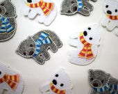 Bear Motifs - Iron On Patch in Grey or White - Polar Bear Patch, Grey Bear Patch - Appliqué Patches - Bear with Scarf, Kids Patch
